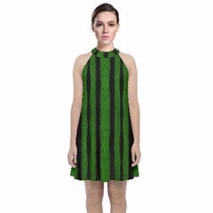Tarija 016 Black Green Velvet Halter Neckline Dress