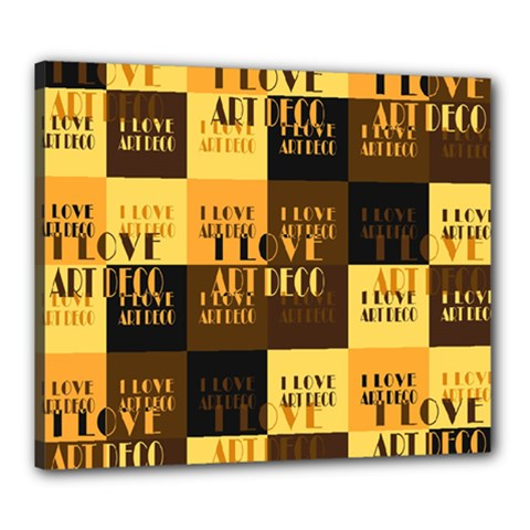 I Love Art Deco Typographic Motif Collage Print Canvas 24  X 20  (stretched) by dflcprintsclothing