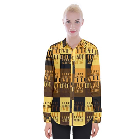I Love Art Deco Typographic Motif Collage Print Womens Long Sleeve Shirt by dflcprintsclothing