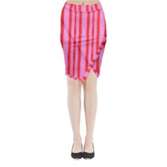 Tarija 016 Red Pink Midi Wrap Pencil Skirt