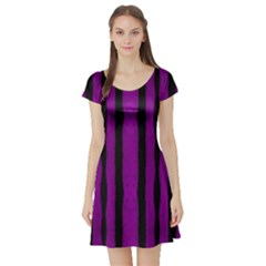 Tarija 016 Purple Black Short Sleeve Skater Dress