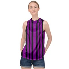 Tarija 016 Purple Black High Neck Satin Top