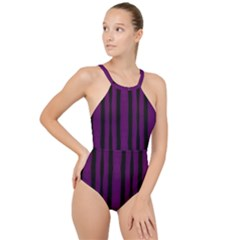 Tarija 016 Black Deep Purple High Neck One Piece Swimsuit