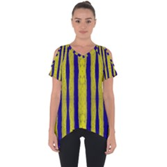 Tarija 016 Yellow Blue Cut Out Side Drop Tee