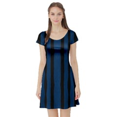 Tarija 016 Black Navy Short Sleeve Skater Dress