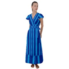 Tarija 016 Blue Blue Flutter Sleeve Maxi Dress