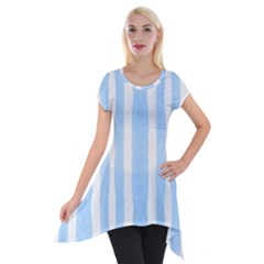 Tarija 016 White Light Blue Short Sleeve Side Drop Tunic