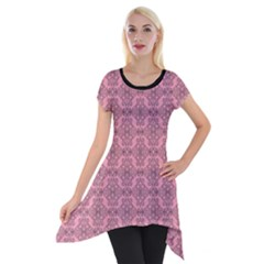Timeless - Black & Flamingo Pink Short Sleeve Side Drop Tunic by FashionLane