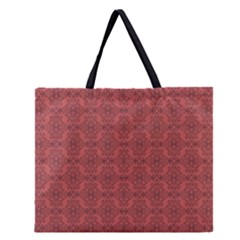 Timeless - Black & Indian Red Zipper Large Tote Bag by FashionLane