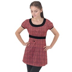 Timeless - Black & Indian Red Puff Sleeve Tunic Top by FashionLane