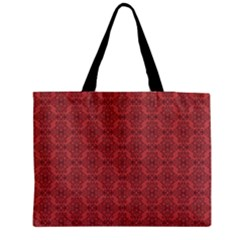 Timeless - Black & Indian Red Zipper Medium Tote Bag by FashionLane
