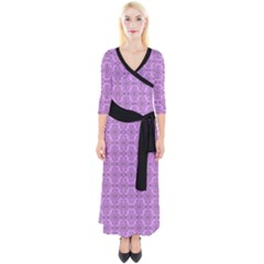 Timeless   Black & Lavender Purple Quarter Sleeve Wrap Maxi Dress