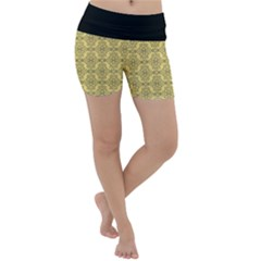 Timeless - Black & Mellow Yellow Lightweight Velour Yoga Shorts by FashionLane