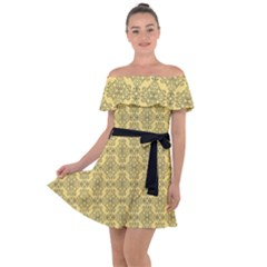 Timeless - Black & Mellow Yellow Off Shoulder Velour Dress by FashionLane