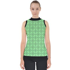 Timeless - Black & Mint Green Mock Neck Shell Top by FashionLane