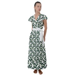 Cute Flowers   Eden Green Flutter Sleeve Maxi Dress