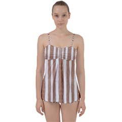 Tarija 016 White Brown Babydoll Tankini Set