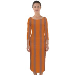 Tarija 016 Orange Brown  Quarter Sleeve Midi Bodycon Dress