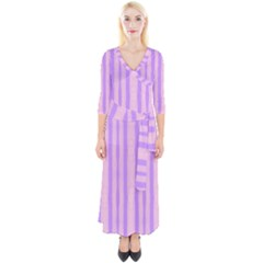Tarija 016 Pink Purple Quarter Sleeve Wrap Maxi Dress