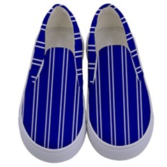 Nice Stripes - Admiral Blue Kids  Canvas Slip Ons
