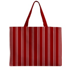 Nice Stripes - Apple Red Zipper Medium Tote Bag by FashionLane
