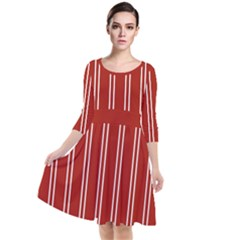 Nice Stripes - Apple Red Quarter Sleeve Waist Band Dress by FashionLane