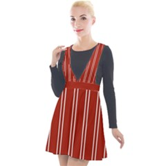 Nice Stripes   Apple Red Plunge Pinafore Velour Dress