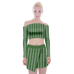 Nice Stripes - Basil Green Off Shoulder Top With Mini Skirt Set by FashionLane