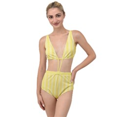 Nice Stripes - Blonde Yellow Tied Up Two Piece Swimsuit by FashionLane