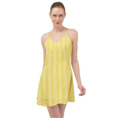 Nice Stripes   Blonde Yellow Summer Time Chiffon Dress