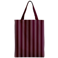 Nice Stripes - Boysenberry Purple Zipper Classic Tote Bag by FashionLane