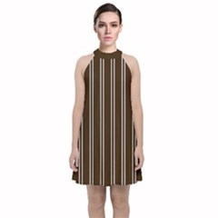 Nice Stripes   Brunette Brown Velvet Halter Neckline Dress