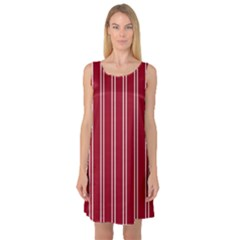Nice Stripes   Carmine Red Sleeveless Satin Nightdress
