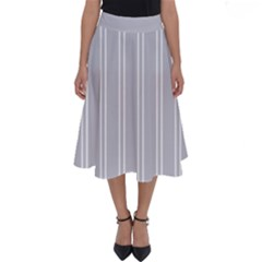 Nice Stripes - Cloudy Grey Perfect Length Midi Skirt by FashionLane