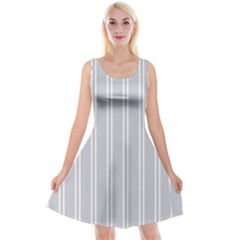 Nice Stripes   Cloudy Grey Reversible Velvet Sleeveless Dress