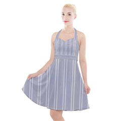 Nice Stripes - Cloudy Grey Halter Party Swing Dress  by FashionLane