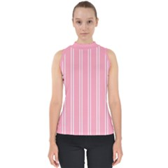 Nice Stripes - Flamingo Pink Mock Neck Shell Top by FashionLane