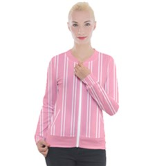 Nice Stripes   Flamingo Pink Casual Zip Up Jacket
