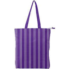 Nice Stripes - Imperial Purple Double Zip Up Tote Bag by FashionLane