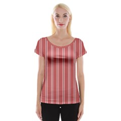 Nice Stripes - Indian Red Cap Sleeve Top by FashionLane