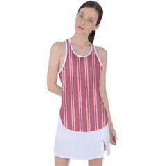 Nice Stripes - Indian Red Racer Back Mesh Tank Top