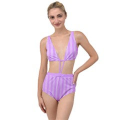 Nice Stripes - Lavender Purple Tied Up Two Piece Swimsuit by FashionLane