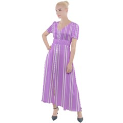 Nice Stripes   Lavender Purple Button Up Short Sleeve Maxi Dress