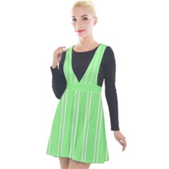 Nice Stripes   Mint Green Plunge Pinafore Velour Dress