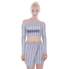 Nice Stripes - Silver Grey Off Shoulder Top With Mini Skirt Set by FashionLane