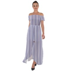 Nice Stripes - Silver Grey Off Shoulder Open Front Chiffon Dress