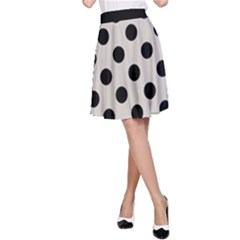 Polka Dots - Black On Abalone Grey A-line Skirt by FashionLane