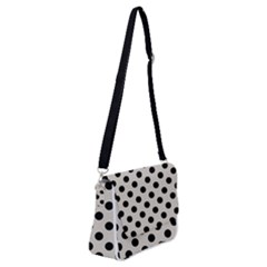 Polka Dots - Black On Abalone Grey Shoulder Bag With Back Zipper by FashionLane