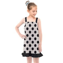 Polka Dots   Black On Abalone Grey Kids  Overall Dress