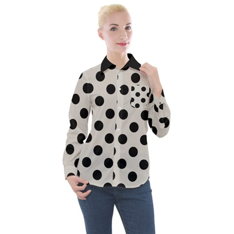 Polka Dots - Black On Abalone Grey Women s Long Sleeve Pocket Shirt by FashionLane